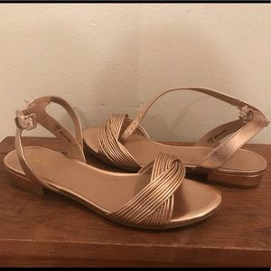 Rose gold strapped sandals- size 7